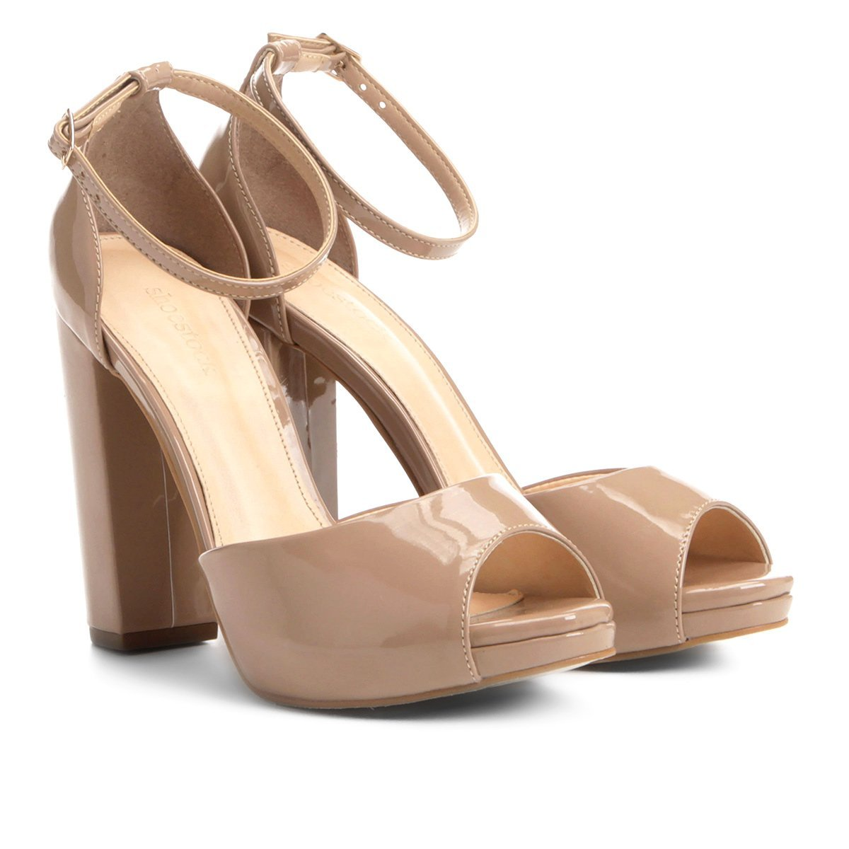 a27a787be Sandália Shoestock Meia Pata Salto Grosso Feminina   Shoestock