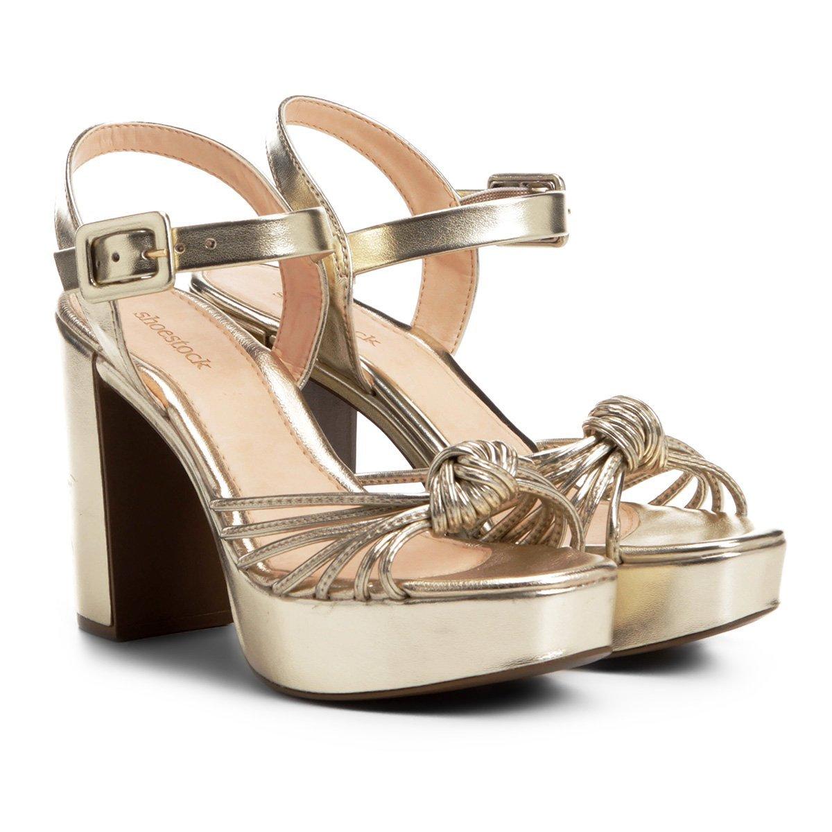 fb2e74b1b Sandália Shoestock Meia Pata Tirinhas Feminina - Dourado | Shoestock