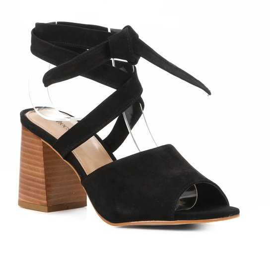 Sandália Shoestock Nobuck Lace Up Salto Bloco Feminina - Preto