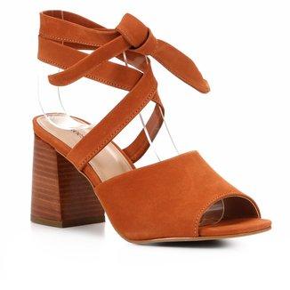 Sandália Shoestock Nobuck Lace Up Salto Bloco Feminina