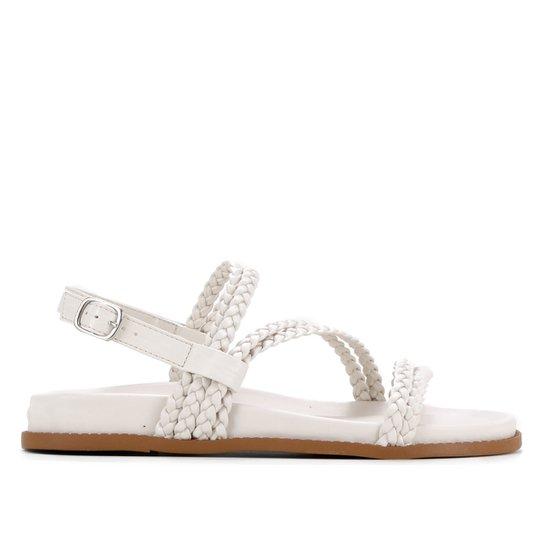 Sandália Shoestock Papete Comfy Trança - Off White