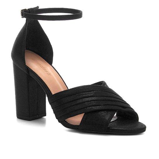 Sandália Shoestock Plissada Salto Bloco Feminina - Preto