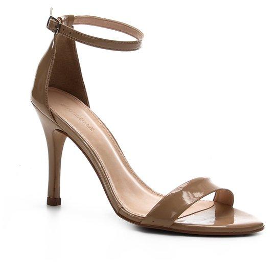 Sandália Shoestock Salto Alto Verniz Feminina - Bege