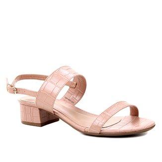 Sandália Shoestock Salto Baixo Bloco Croco Feminina
