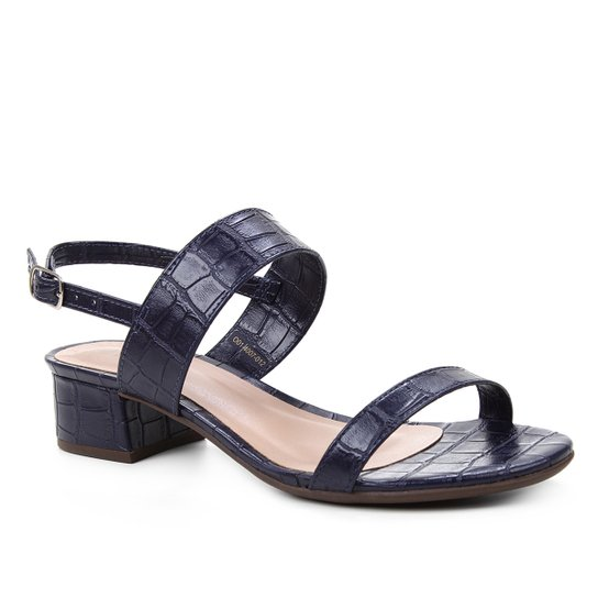 Sandália Shoestock Salto Baixo Bloco Croco Feminina - Marinho