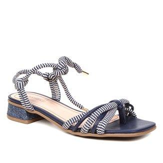 Sandália Shoestock Salto Baixo Cadarço Feminina