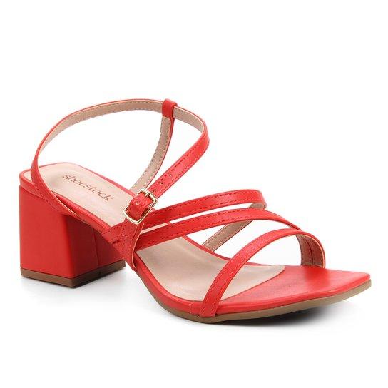 Sandália Shoestock Salto Bloco Feminina - Vermelho