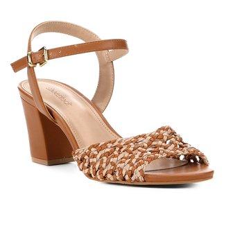 Sandália Shoestock Salto Bloco Macramê Feminina