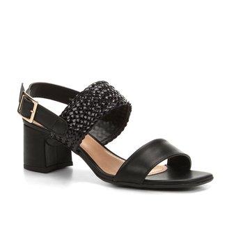Sandália Shoestock Salto Bloco Tranças Feminina