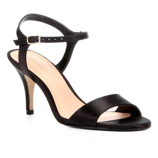 Sandália Shoestock Salto Fino Cetim Feminina - Preto
