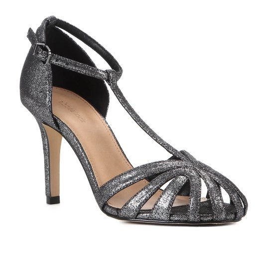 Sandália Shoestock Salto Fino Tiras Feminina - Prata