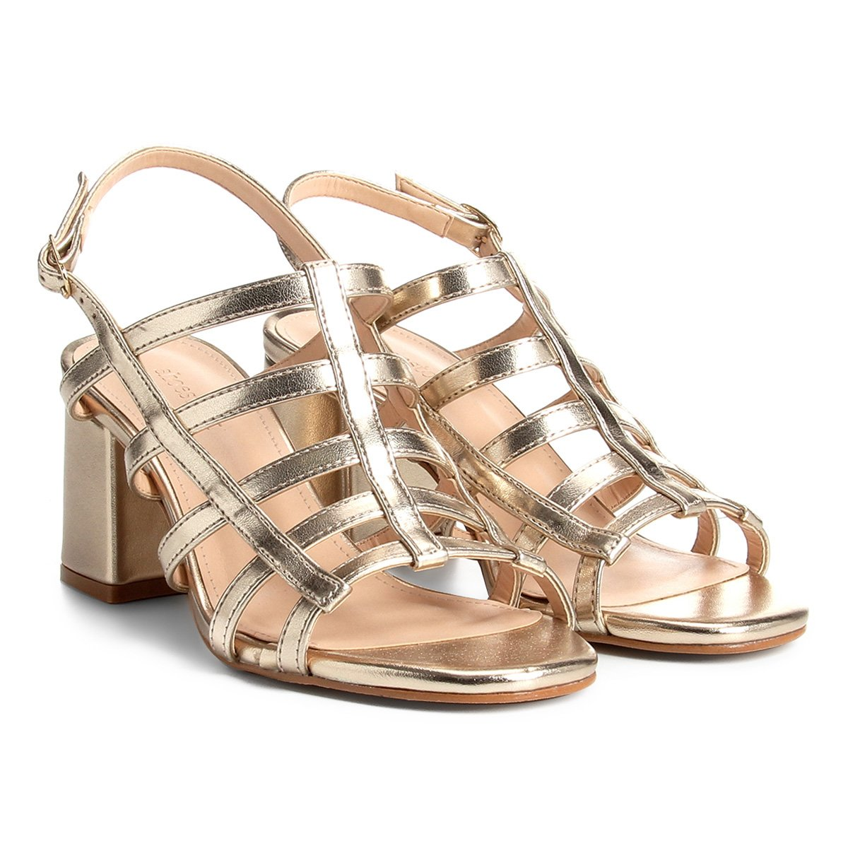 00facd406 Sandália Shoestock Salto Grosso Tiras Feminina - Dourado | Shoestock