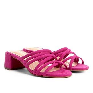Sandália Shoestock Salto Grosso Tirinhas Color Feminina