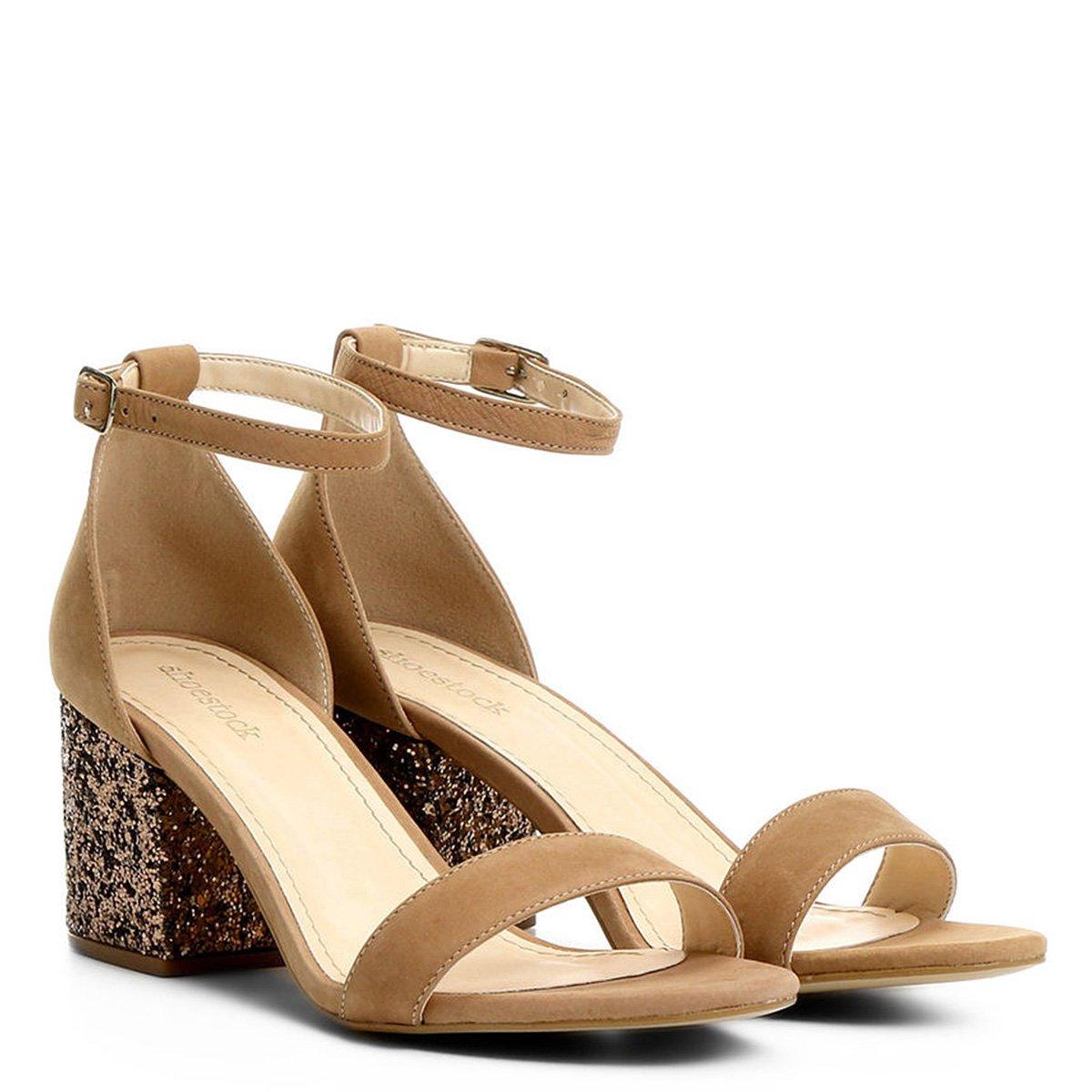a439ed25d Sandália Shoestock Salto Médio Glitter | Shoestock