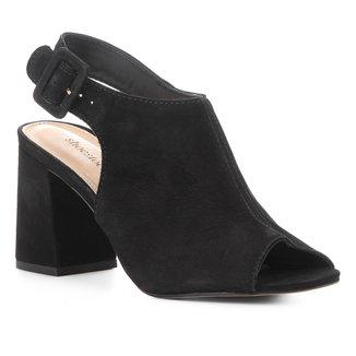 Sandália Shoestock Salto Médio Nobuck Feminina