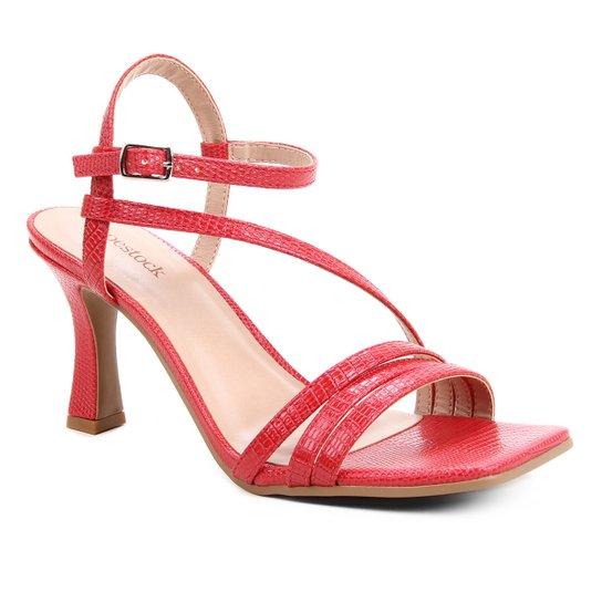 Sandália Shoestock Salto Sino Tiras Feminina - Vermelho