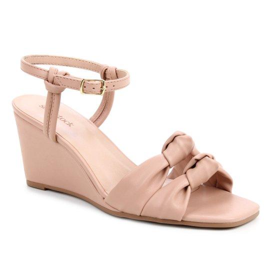 Sandália Shoestock Soft Anabela Feminina - Nude