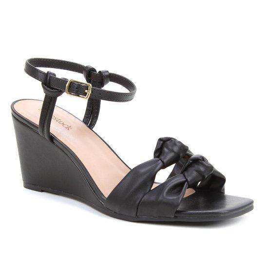 Sandália Shoestock Soft Anabela Feminina - Preto