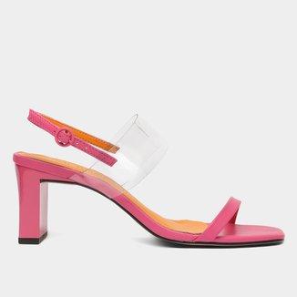 Sandália Shoestock Tira Vinil Salto Grosso Feminina