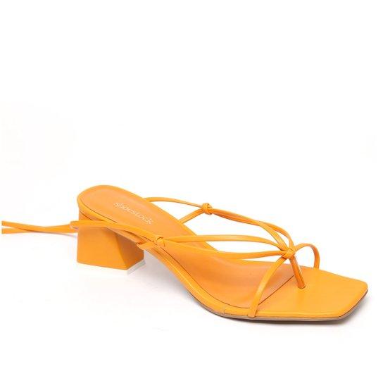Sandália Shoestock Tiras Color Salto Bloco Feminina - Laranja