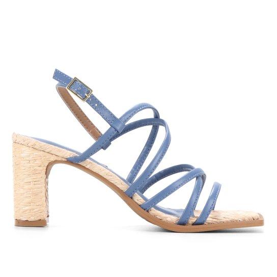 Sandália Shoestock Tiras Salto Ráfia - Azul