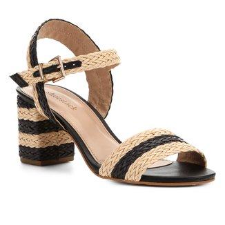 Sandália Shoestock Trança Salto Bloco Feminina