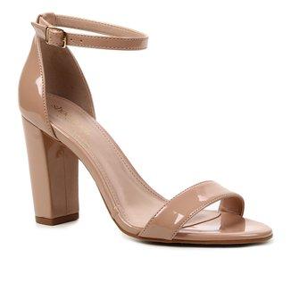 Sandália Shoestock Verniz Salto Bloco Alto Naked Feminina