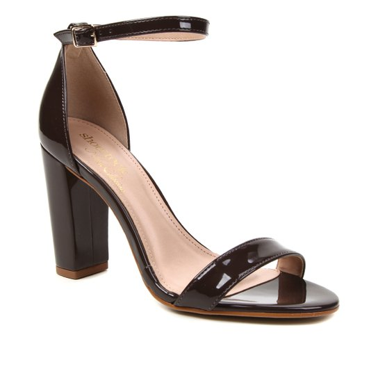 Sandália Shoestock Verniz Salto Bloco Alto Naked Feminina - Cacau