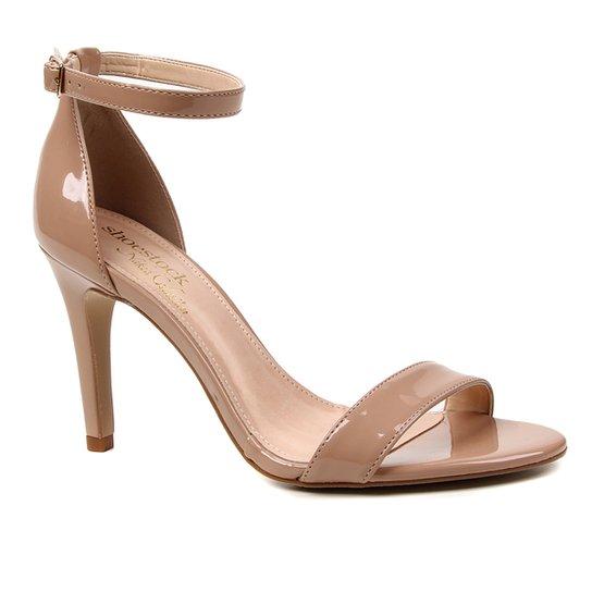 Sandália Shoestock Verniz Salto Fino Médio Naked - Noz