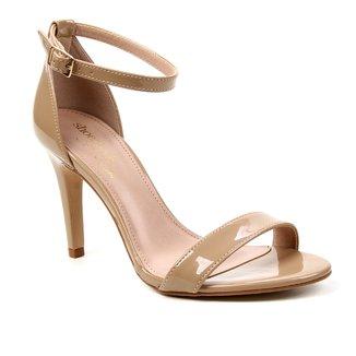 Sandália Shoestock Verniz Salto Fino Médio Naked