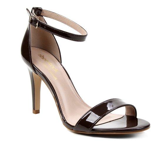Sandália Shoestock Verniz Salto Fino Médio Naked - Cacau