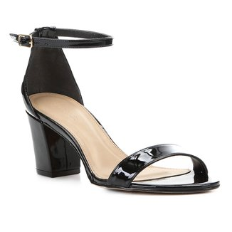 Sandália Shoestock Verniz Salto Médio