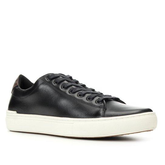 Sapatênis Couro Shoestock Básico Liso Masculino - Preto