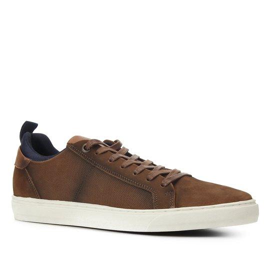Sapatênis Couro Shoestock Básico Masculino - Caramelo