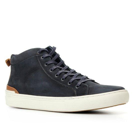 Sapatênis Couro Shoestock Cano Alto Masculino - Azul