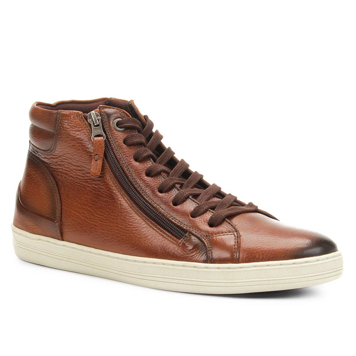 51a27e7a238 Sapatênis Couro Shoestock Cano Alto Zíper Masculino - Compre Agora ...