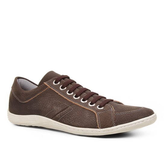 Sapatênis Couro Shoestock Ilhós Masculino - Café