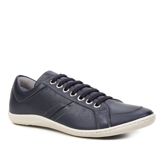 Sapatênis Couro Shoestock Ilhós Masculino - Marinho