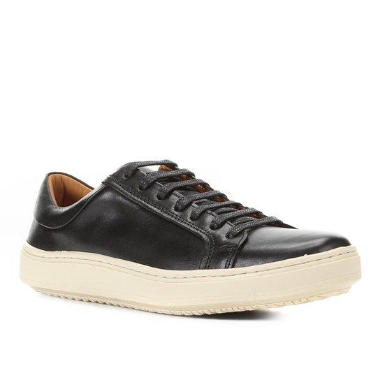 Sapatênis Couro Shoestock Liso Masculino - Preto