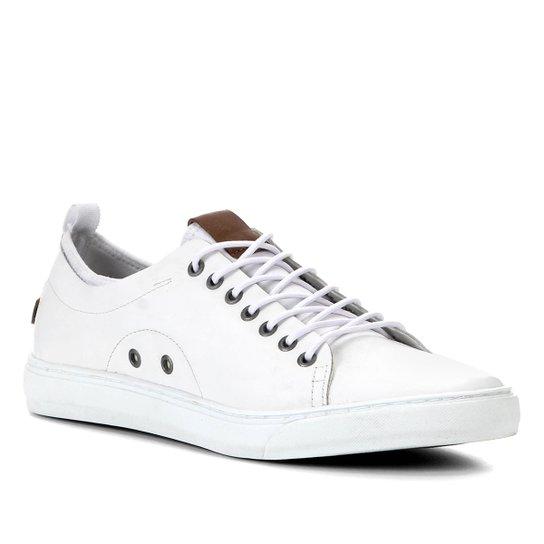 Sapatênis Couro Shoestock Liso Masculino - Branco