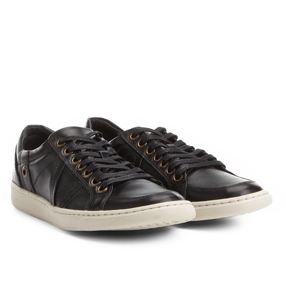92f300c6ed Sapatênis Couro Shoestock Recortes Masculino - Preto | Shoestock