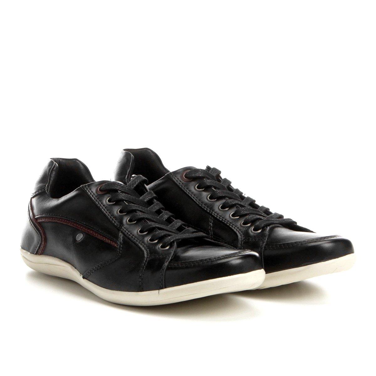 6f7cdb77ff Sapatênis Couro Shoestock Recortes Masculino - Preto