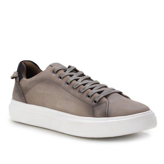 Sapatênis Couro Shoestock Stoned Basic Masculino - Cinza