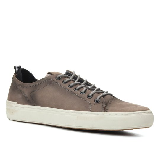 Sapatênis Couro Shoestock Stoned Masculino - Cinza