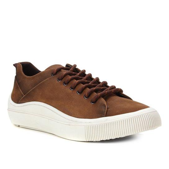 Sapatênis Couro Shoestock Stoned Masculino - Caramelo