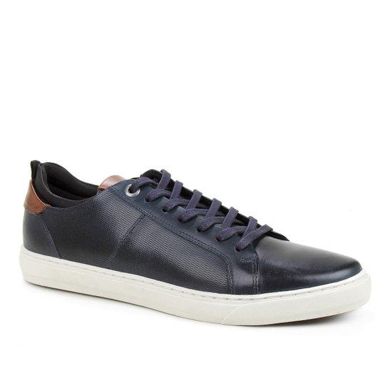 Sapatênis Couro Shoestock Textura Masculino - Marinho
