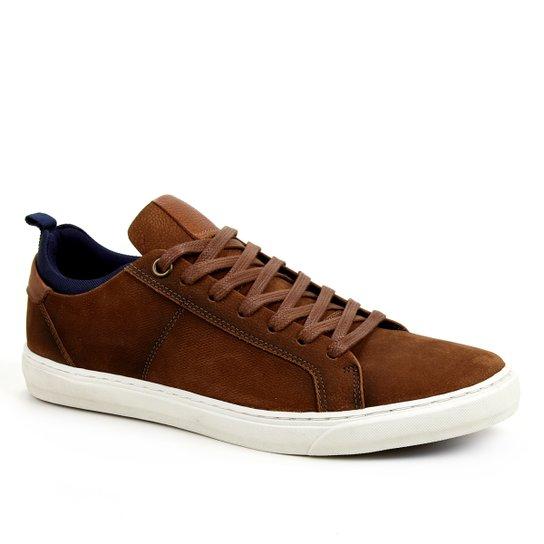 Sapatênis Couro Shoestock Textura Masculino - Caramelo