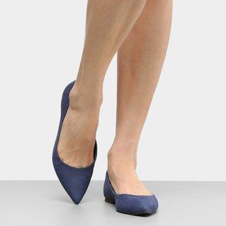 Sapatilha Couro Shoestock Básica Bico Fino Feminina