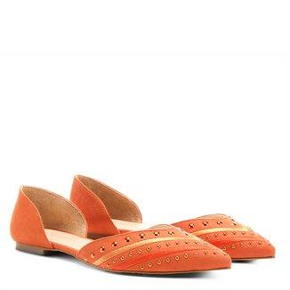 Sapatilha Couro Shoestock Bico Fino Apliques Feminina