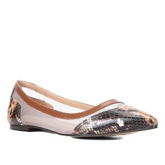 Sapatilha Couro Shoestock Bico Fino Cobra Tela Feminina